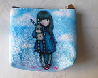x 1 cotton purse coated pattern blue girl 11.5 x 10 cm