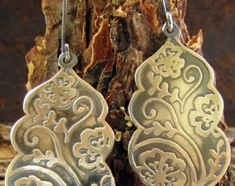Sterling Earrings, Henna Motifs Etched in Sterling Silver