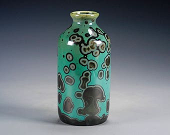Ceramic Vase - Green, Black, Malachite - Crystalline Glaze on High-Fired Porcelain - Hand Made Pottery - FREE SHIPPING - K-754