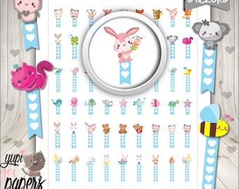 Animal Stickers, Planner Stickers, Animals, Flags, Bee, Rabbit, Planner Accessories, Printable Stickers, Use in Erin Condren