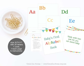 "Alphabet Book Baby Shower Activity Game 8.5""x11"" Baby's First Alphabet Book, DIY ABC book, activity, bunting, banner, colorful, boy girl"