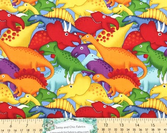 New ~ Lost World Dinosaurs Blue Color, Quilt Cotton Fabric from  Fabri-Quilt, Buy More and Save