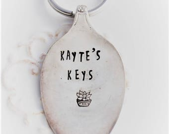 Spoon Key Chain Stamped with - CUSTOM Key Chain - Silverware Vintage Key Chain Hand Stamped & Made To Order