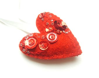 Heart ornament - felt ornaments - Valentine's day/Birthday/Christmas/Baby/It's a Girl/Housewarming home decor