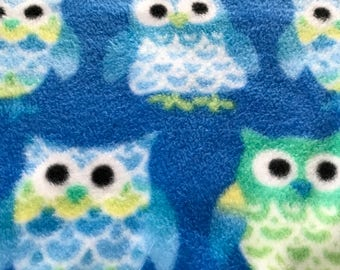 Bright Eyed Blue and Green Owls, baby boy fleece blanket