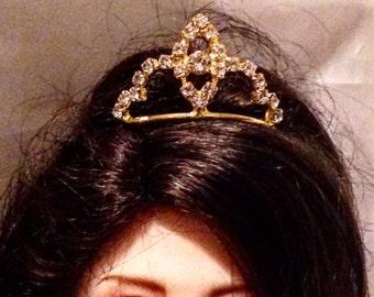 Gold and Clear Rhinestone Mini Tiara for Dollfie