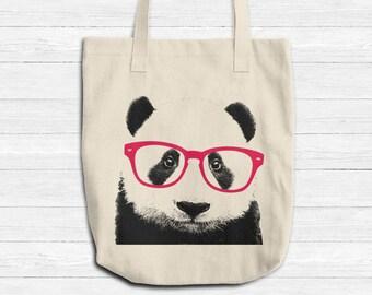 Canvastasche Smart Panda, Tier mit Brille Tote, wiederverwendbare Einkaufstasche, Denim natürliche Einkaufstasche, Buch Tasche Lehrer Tasche, hergestellt in USA