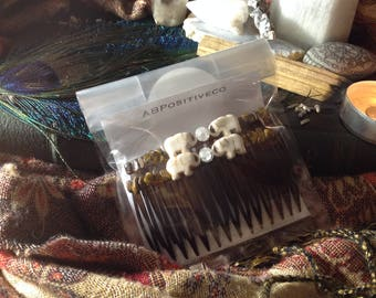 Tigers eye, Quartz, and howlite elephant hair combs