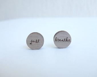 original woodcut Just Breathe earrings