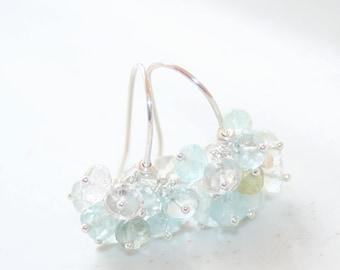 Aquamarine Cluster Hook Earrings, Sterling Silver, March Birthstone, Aqua Gemstone, Aquamarine Jewelry