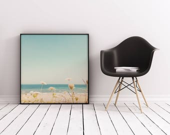Beach Photography, Seaside Art, Beach House Decor, Flowers, Ocean, Floral Landscape, Nautical - Water and Lace