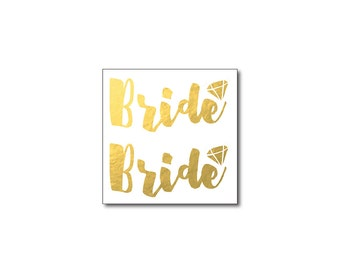 metallic bride tattoos gold bride temporary tattoos diamond tattoo bachelorette party bling engagement party bridal temporary flash tattoo