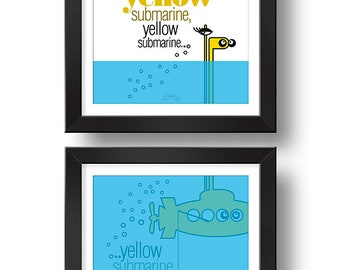 We all LIVE in YELLOW submarine   Paired prints   Digital print   Design art