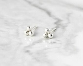 Triple dot studs - tiny sterling silver earrings