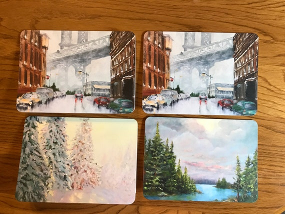 Blank Cards, Brooklyn Bridge, Art Notecard Sampler, Landscape Cards, Original Art Notecards, Art Stationary, Greeting Cards, Painting Cards