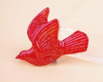 Vintage Red Glitter Swallow Brooch Rockabilly Pin-up
