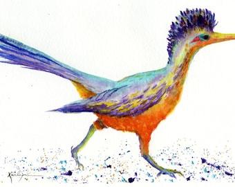 Roadrunner Bird Archival Print of Original Watercolor 8x10 Orange Teal Purple Nursery Home Office Decor Nature