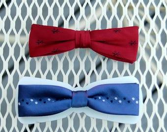 Mid century bow ties red blue Ormond clip on bow ties skinny ties 50s 60s old school preppy ties
