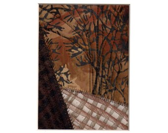 Paysage d'hiver mixte Mini Quilt Art Collage prêt à encadrer