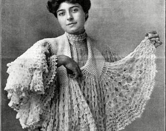 Beautiful Antique Women's Circular Shawl Crochet Pattern PDF instant download
