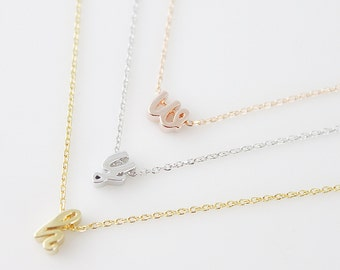 Tiny Lower case Initial Necklace Personalized Necklace  Letter Necklace Chocker Initial Necklace Birthday Gift