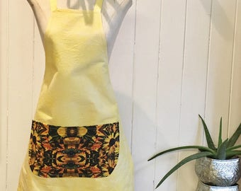 Summer Bright Apron Yellow Digital Print Pocket