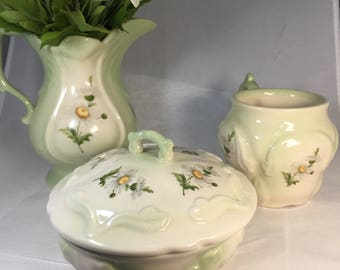 Vintage Daisies Set - Ceramic Pitcher, Cup and lidded jar, Soft Green Home Decor Accessory