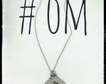 Silver plated Om medallion, 20 inch silver filled necklace, jewelry