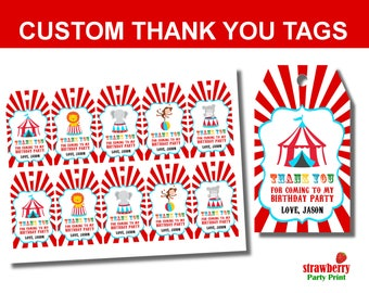 Circus Favor Tags, Carnival Thank You Tags, Circus Thank You Tag, Circus Party Favors, Circus Birthday Decoration, Gift Tags Printable