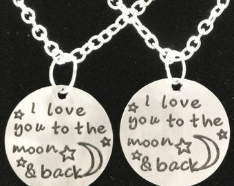 Best Friend Gift, I Love You To The Moon And Back Necklace, 2 Necklaces Best Friend Couples His And Hers Sisters Set