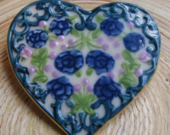 Heart Brooch Handmade Porcelain Ceramic Jewelry with Purple Flowers