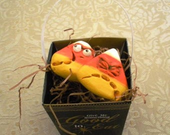 Halloween Candy Corn Comes Alive!  Charming OOAK Ornaments by Lori Gutierrez!