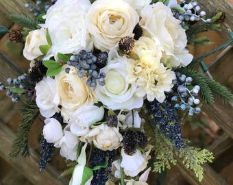Cascading winter bridal bouquet