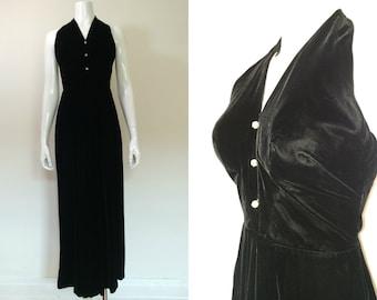 Vintage 1970s Black Velvet Halter Maxi Dress - XS
