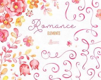 Romance. Elements, watercolor clipart, flourish, monogram, twirl, pink, yellow, bridal, flowers, wedding invitation, greetings, floral