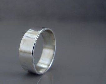 Silver wedding band for men, Mens simple wide silver band, Mens wedding band made to order, Men's Jewelry