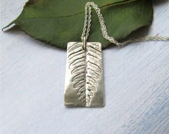 Silver Fern Necklace, Woodland Fern Leaf Necklace, Natural Leaf Necklace, Leaf Jewelry