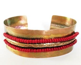 Cuff Bracelet, Folded Copper Cuff, Beaded Bracelet - Free Domestic Shipping
