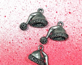 Santa's Hat Charms--4 pieces-(Antique Pewter Silver Finish)--style 1002-