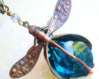 Blue Dragonfly Pendant-Art Nouveau Necklace Brass Filigree with Hand Beaded Chain, many colors, custom made