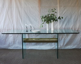 Pace Brass & Glass Dining Table