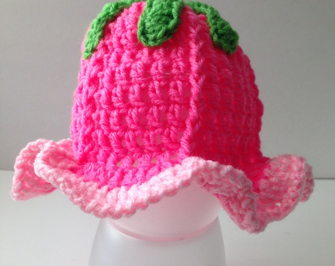 Flower Baby Girl Hat - Hot Pink and Light Pink Tulip Hat  - Handmade Crochet - Baby to Adult Tulip Flower Beanie  - Made to Order