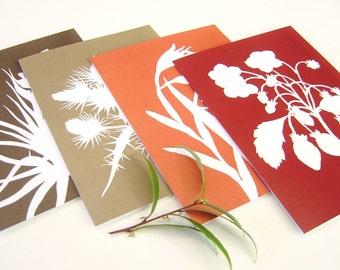 Botanical Postcards - Tangerine Orange, Garnet Red, Brown in Strawberry, Gladiolus, Thistle and Tillandsia - Set of Four