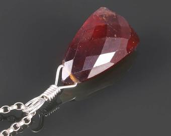 Hessonite Garnet Necklace. Sterling Silver. Unique Triangle Shape. January Birthstone. Genuine Gemstone. s17n007