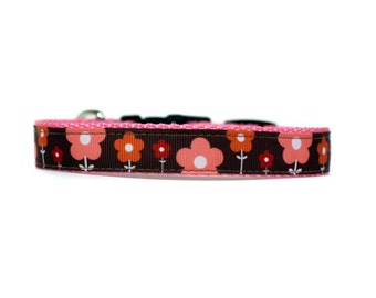 5/8 or 3/4 Inch Wide Dog Collar with Adjustable Buckle or Martingale in Olivia