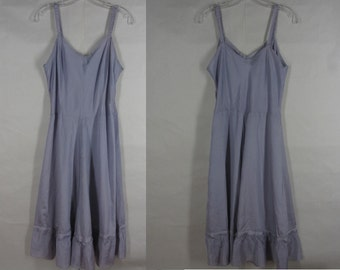 Vintage 40s Periwinkle Blue Taffeta Slip Fit and Flare Ruffled Hem Side Zipper