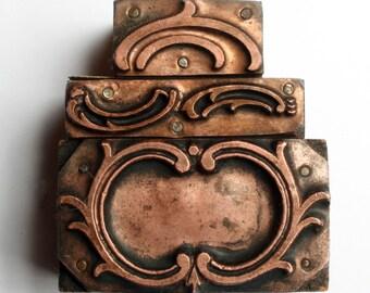 Set of Three FLOURISHes 1903-1953 Antique GERMAN Copper Letterpress Cut printing block