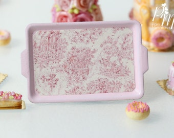 Toile de Jouy Pink Metal Tray - 12th Scale Miniature Food (Pink Collection 2016)