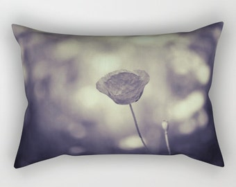 Poppy Flower Rectangle Pillow, Gray Pillow, Black and White Rectangular Pillow with Insert, Rectangular Throw Pillows, Decorative Pillows