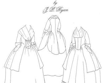JPR12 - JP Ryan #12, 18th Century Ladies' Caraco Jacket Sewing Pattern